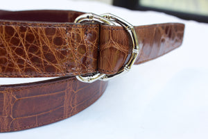 Double D-Ring Alligator Belt - Accenti Leather