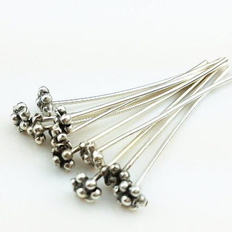 10 of 925 Thai Sterling Silver Head Pins With 7 Ball 30 mm 21 AWG (SS0001), VeradaCraft, HaremPantsThai