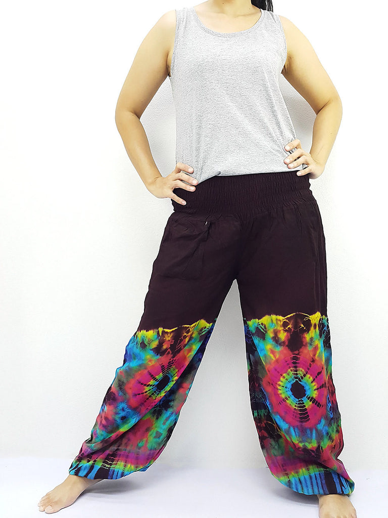 PTT54 Thai Women Clothing Comfy Rayon Bohemian Trousers Hippie Baggy Genie Boho Pants Tie Dye Brown