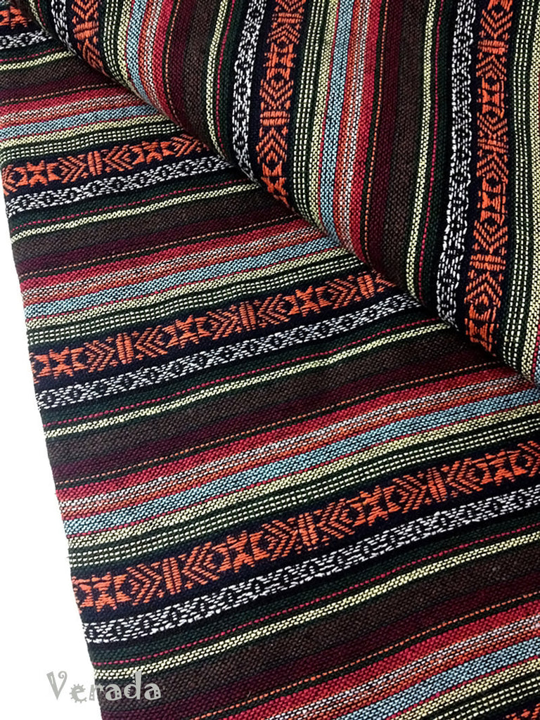 thai woven cotton fabric tribal fabric native fabric by the yard ethnic fabric aztec fabric craft supplies woven textile 1 2 yard wf54