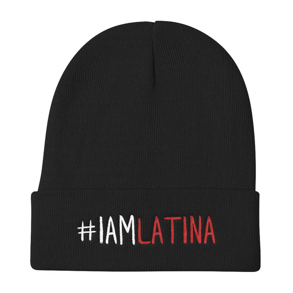 I Am Latina in White & Red Knit Beanie