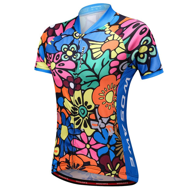 Stained Glass Flowers Cycling Jersey (Women's Short Sleeve)