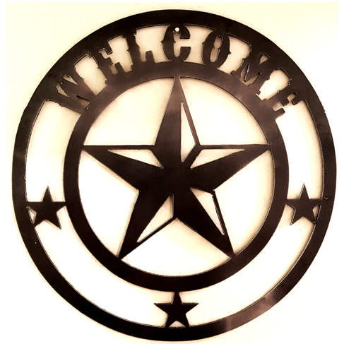 Free Welcome Stars in Circle-DXF files Cut Ready CNC Designs-DXFforCNC.com