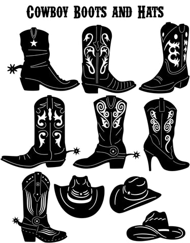 Western Cowboy Boots and Hats-DXFforCNC.com-DXF Files cut ready cnc machines