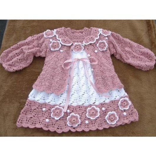 Crochet baby set - baby dress and a cute cardigan - FREE SHIPPING - AsDidy fashion