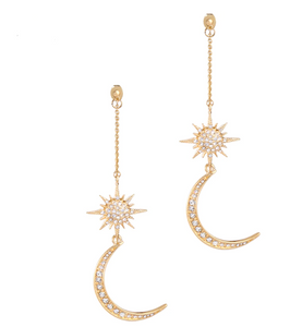 Shiny Crystal Star Moon Charming Earrings