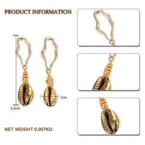 Womens Multicolor Golden Accent Ocean Seashell Couch Mermaid Sea Witch Drop Dangle Earrings