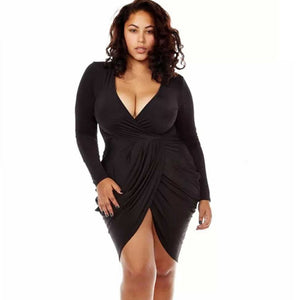 Womens Plus Size Deep V Neck Bodycon Wrap Dress with Front Slit