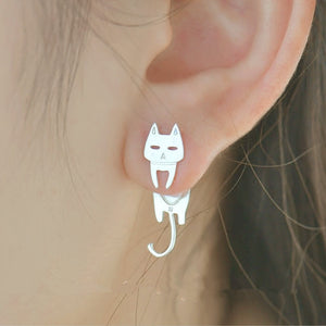 Club Dresses | Club Outfits | Party Dresses Cat & Fish Silver Stud Earrings 925 Sterling, Cat & Fish Silver Stud Earrings 925 Sterling 🐱🐟 - Clubbing Love
