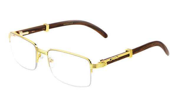 Luxe Executive Metal & Wood Slim Half Rim Rectangular Clear Lens Sunglasses / Eyeglasses Frames