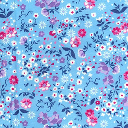 Cotton Poplin Floral Sky CP0709 - The Fabric Bee