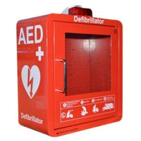 AED Wall Cabinet Red Inc Strobe Light And AED Sign - WAP812M2RL-ALP-InterAktiv Health