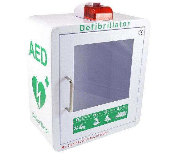 AED wall cabinet with strobe light and alarm in white from Interaktiv health
