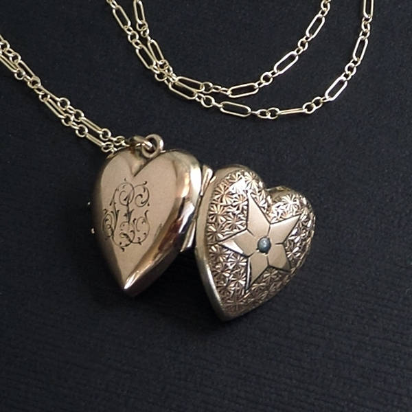 Antique Victorian LOCKET Heart Shape PEARL, Glass Covers, Long CHAIN c.1870s - Years After