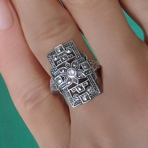 UNCAS Antique ART DECO Crystal Ring STERLING Marcasite - Years After