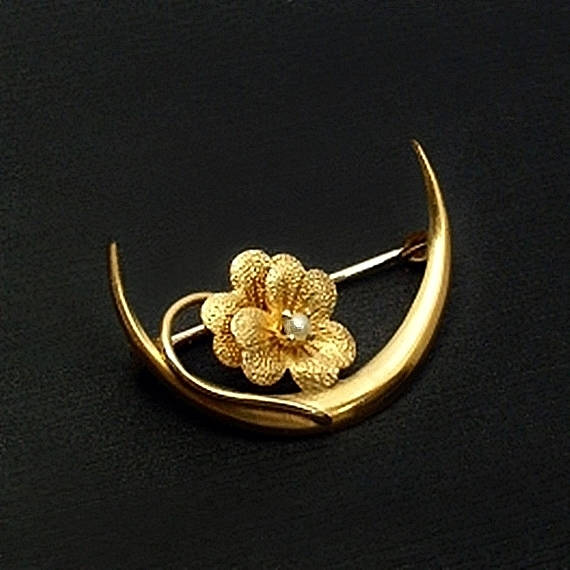 10K Antique Victorian CRESCENT Moon Brooch LOVE Token - Years After