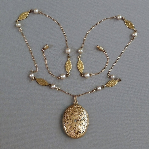 LARGE Antique Art Deco LOCKET Necklace LONG Leaf Pearl Chain - Years After
