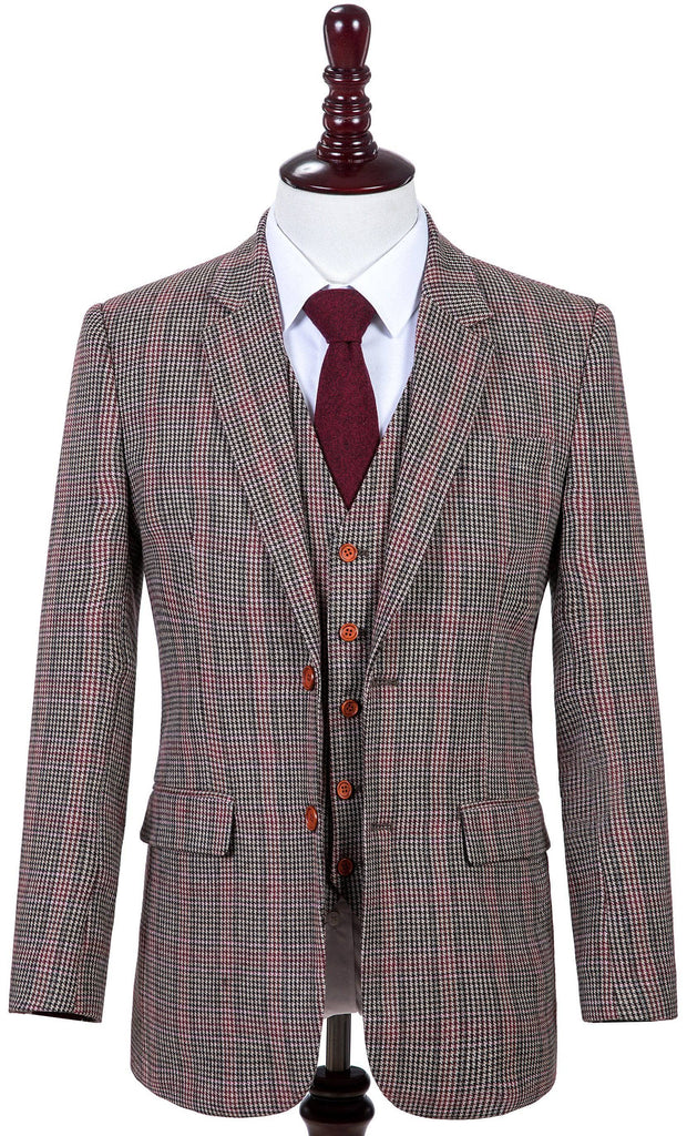 Brown Red Houndstooth Plaid Tweed 2 Piece