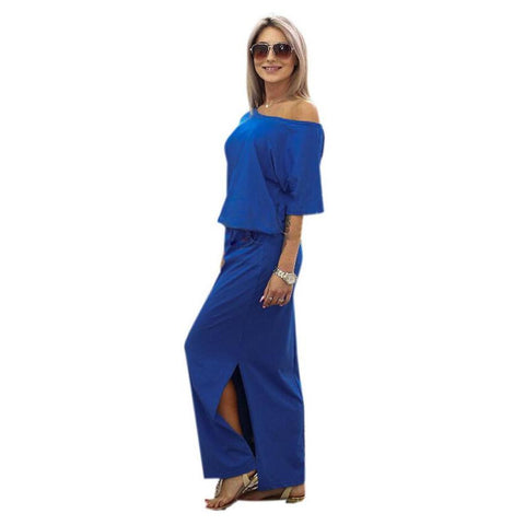 Blue Off-Shoulder Dress - Oeuvre by Qamrosh
