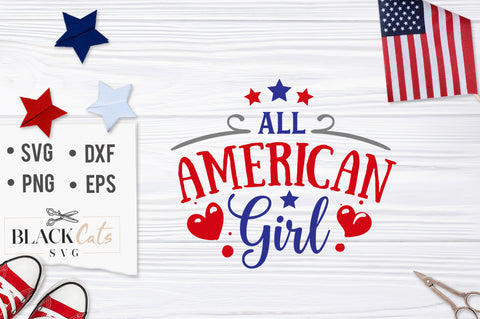 All American Girl SVG file Cutting File Clipart in Svg, Eps, Dxf, Png for Cricut & Silhouette