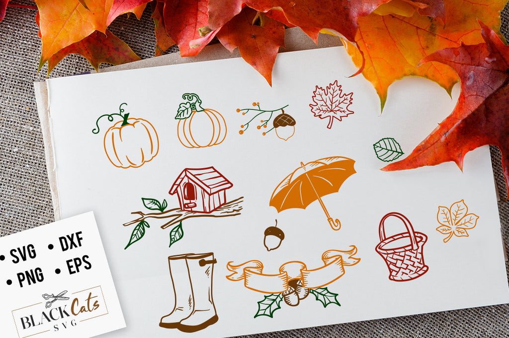 Autumn pack SVG file Cutting File Clipart in Svg, Eps, Dxf, Png for Cricut & Silhouette