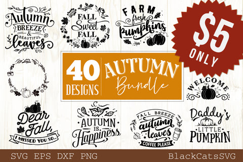 Autumn bundle - 40 SVG file Cutting File Clipart in Svg, Eps, Dxf, Png for Cricut & Silhouette