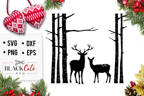 Birch tree and deer SVG