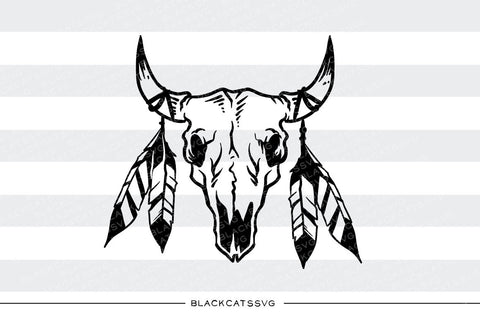 Bull skull and feathers  -  SVG file Cutting File Clipart in Svg, Eps, Dxf, Png for Cricut & Silhouette - BlackCatsSVG