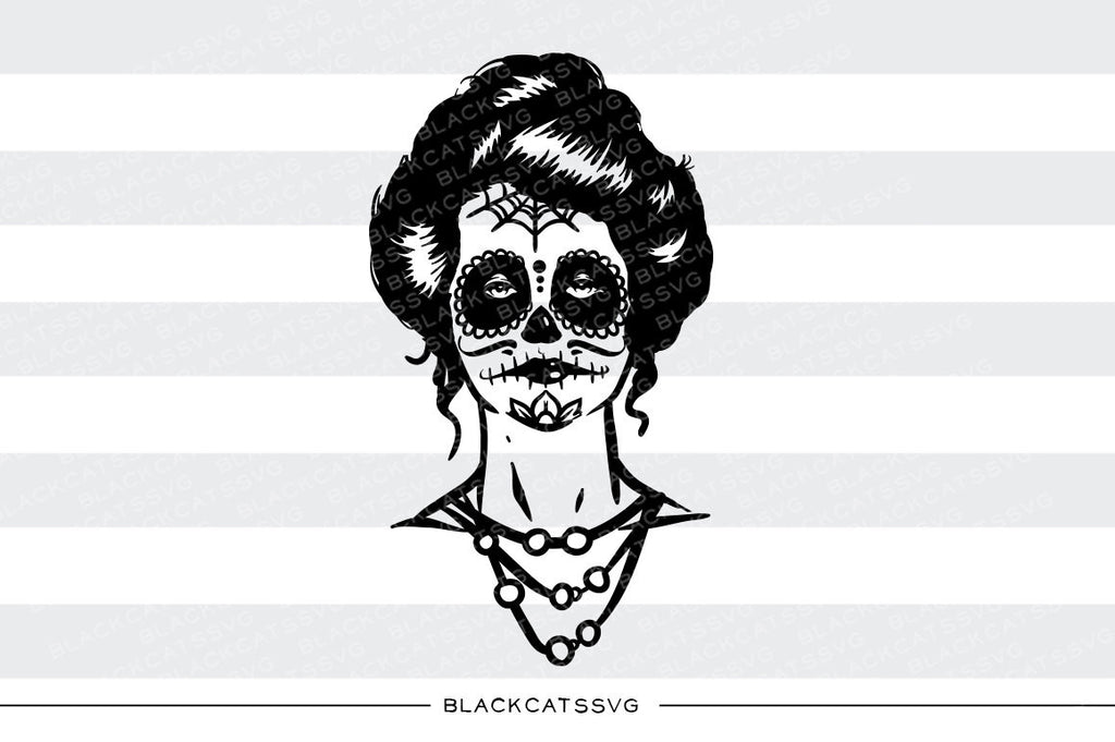 Day of the dead girl -  SVG file Cutting File Clipart in Svg, Eps, Dxf, Png for Cricut & Silhouette - Day of the dead svg - BlackCatsSVG