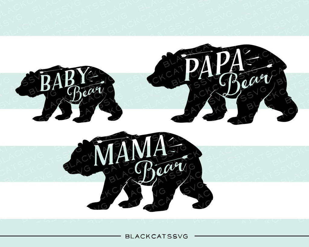 Bear family baby bear mam bear papa bear -  SVG file Cutting File Clipart in Svg, Eps, Dxf, Png for Cricut & Silhouette - BlackCatsSVG