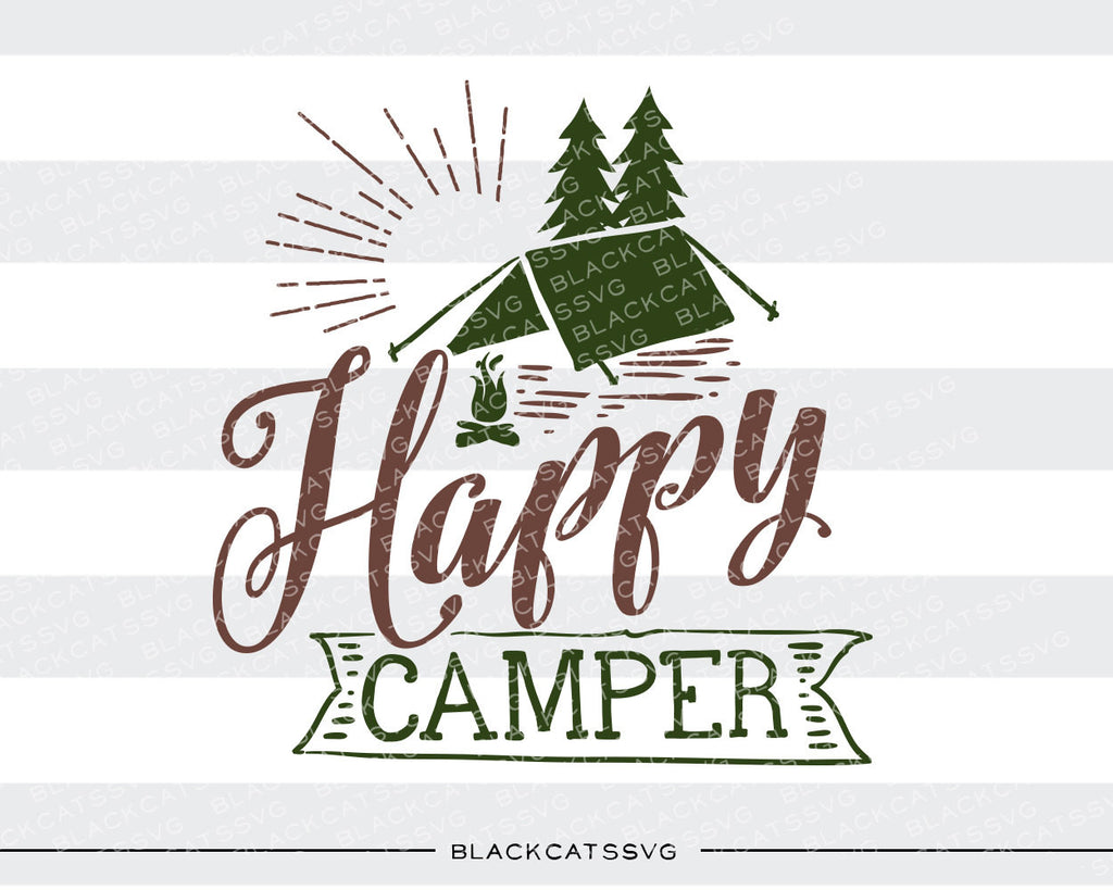 Happy camper -  SVG file Cutting File Clipart in Svg, Eps, Dxf, Png for Cricut & Silhouette - BlackCatsSVG