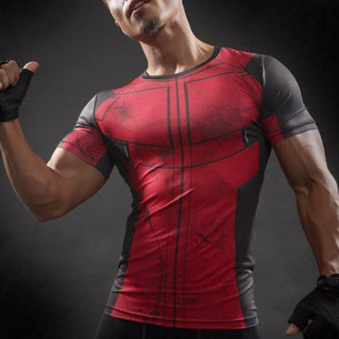 Super Hero Shirt - Deadpool Compression Shirt