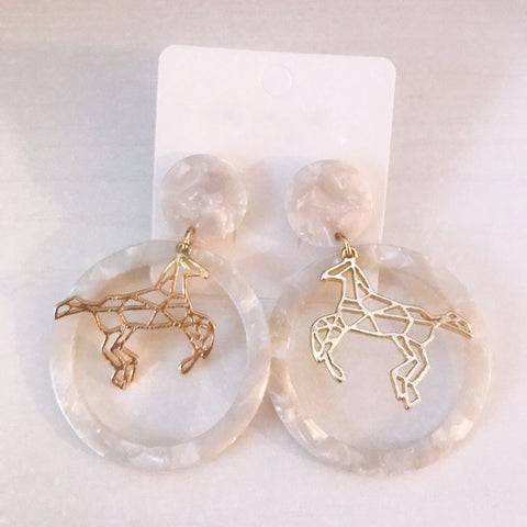 Derby Daze Acrylic Horse Statement Earrings