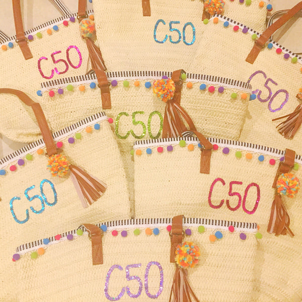 Custom Straw Tote Bag Discount Package- Set of 4
