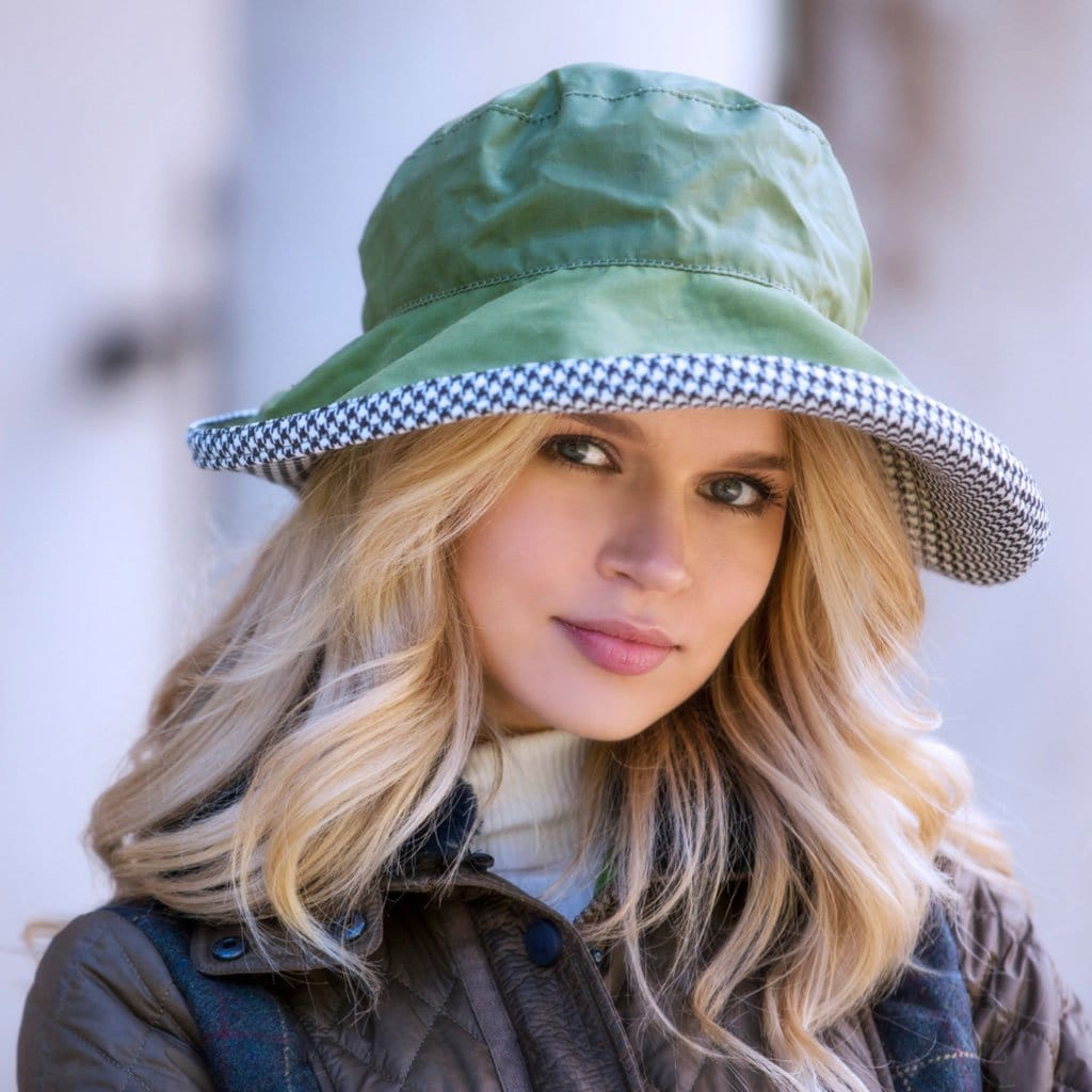 Bradleys Tannery Kate Green Wax Hat With Houndstooth Lining On Woman