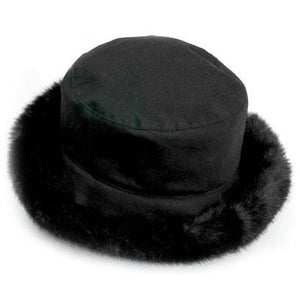 Olney Headwear Beth Ladies Black Waxed Rain Hat With Faux Fur Trim And Fleece Lining