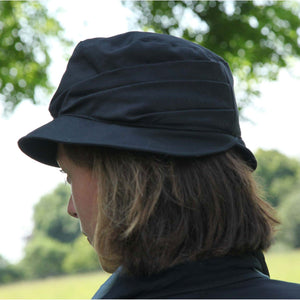 Olney Headwear Dixie Ladies Waxed Rain Hat Showing Sculptured Back Of Hat On Woman