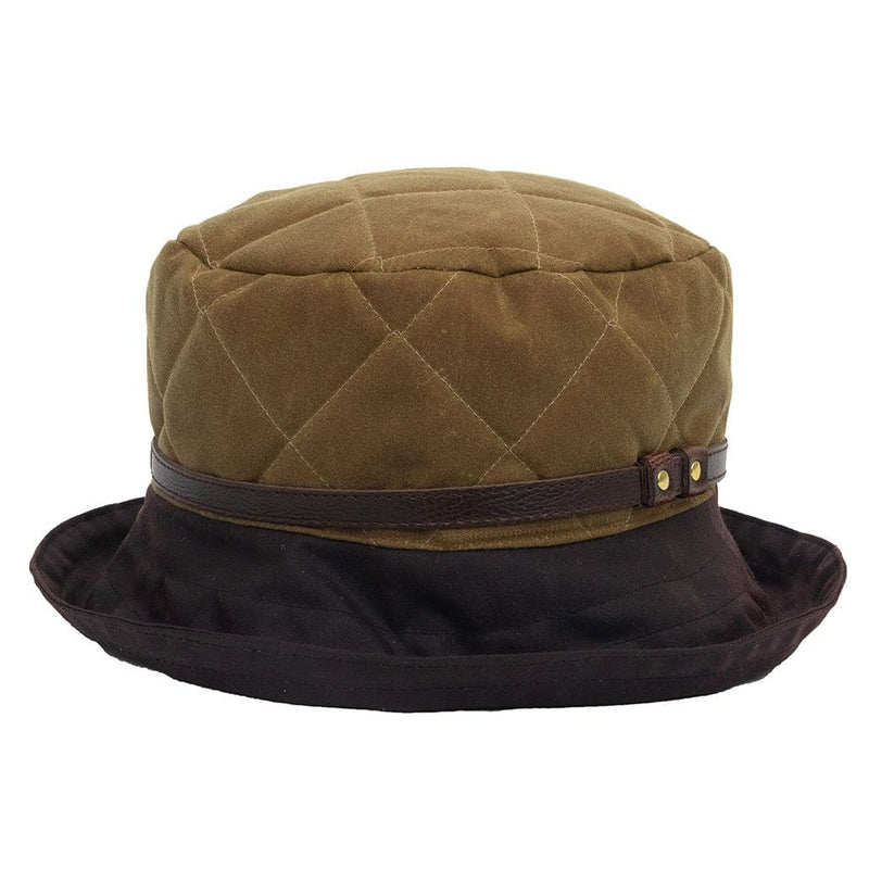 Peak And Brim April Ladies Tan Waxed Rain Hat With Brown Brim And Leather Trim