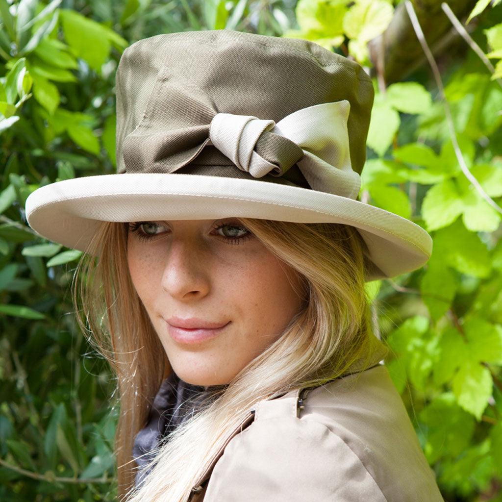 Proppa Toppa PT100 Francis Olive And Ivory Ladies Rain Hat With Bow Decoration On Woman