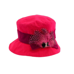 Proppa Toppa PT86 Hannah Pink Ladies Cloche Style Rain Hat With Feathers And Jewels Decoration