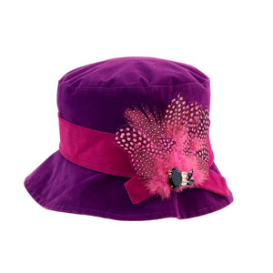Proppa Toppa PT86 Hannah Purple Ladies Cloche Style Rain Hat With Feathers And Jewels Decoration