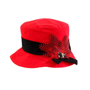 Proppa Toppa PT86 Hannah Red Ladies Cloche Style Rain Hat With Feathers And Jewels Decoration