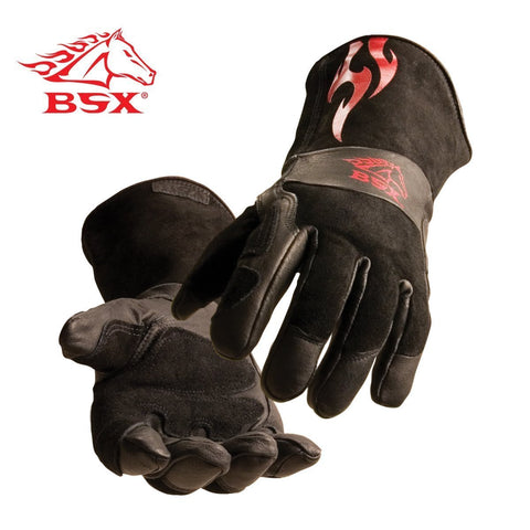 BSX Stick/MIG Welding Gloves - Black with Red Flames,