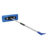 Snow Joe SJBLZD-LED 4-In-1 Telescoping Snow Broom + Ice Scraper | 18-Inch Foam Head | Headlights (Blue)