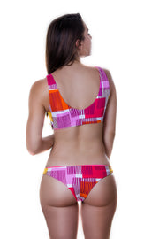 Alaine top reversible - fuscia & pink squares print