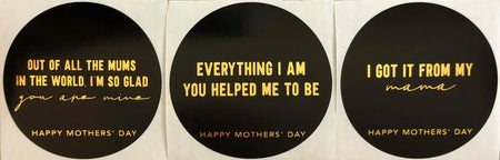 BLACK Foiled Simplicity Mothers Day Label Pack