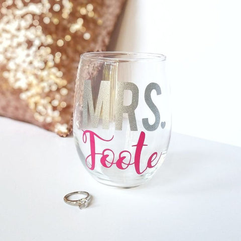 Future Mrs Wine Glass| MRS wine glass | Future Mrs | Bridal Shower Gift | Bride wine glass | Future Bride Wine Glass | Gifts for Her