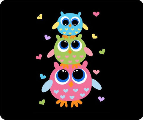 3 Owls With Hearts Thick Mouse Pad