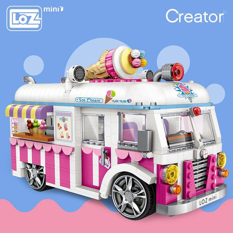 LOZ 1112 Ice Cream Van Pink Car - Your World of Building Blocks