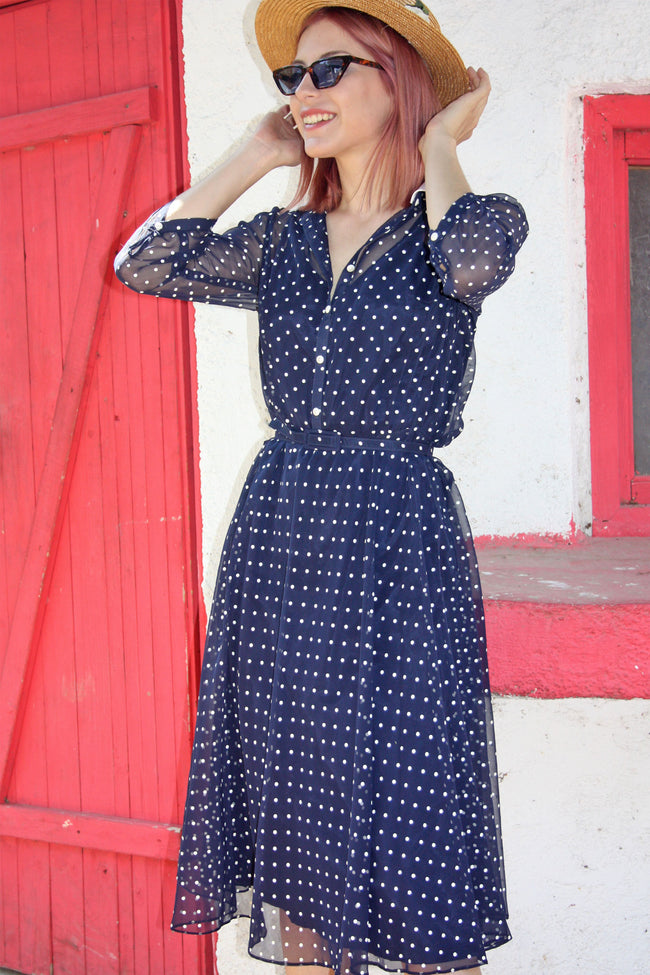 Vintage polka dot retro dress - Shop SoLovesVintage